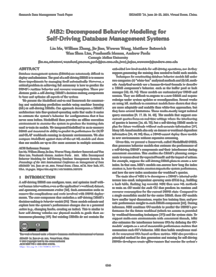 Screenshot of the pdf document for MB2: Decomposed Behavior Modeling for Self-Driving Database Management Systems