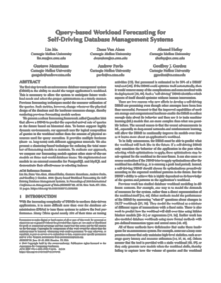 Screenshot of the pdf document for Query-based Workload Forecasting for Self-Driving Database Management Systems
