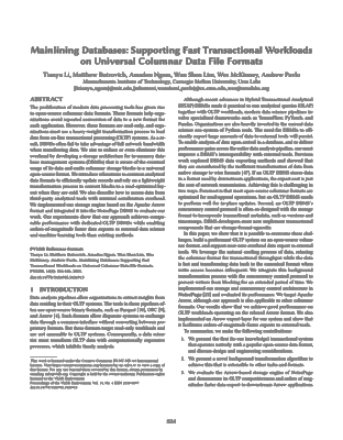 Screenshot of the pdf document for Mainlining Databases: Supporting Fast Transactional Workloads on Universal Columnar Data File Formats