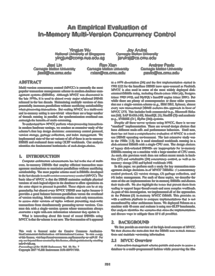 Screenshot of the pdf document for An Empirical Evaluation of In-Memory Multi-Version Concurrency Control